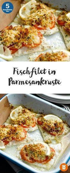 Fischfilet in Parmesankruste   4 Portionen, 5 SmartPoints/Portion, Weight Watchers, fertig in 30 min.