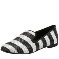 be1a2d2e4b9a Giuseppe Zanotti Womens Stripe Strass Smoking Loafer