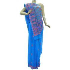 Chiffon Saree Lucknow Chikan (QHAK7002)