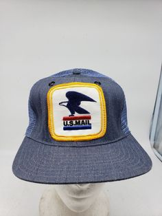 Vtg 80s Blue Denim U.S. Mail Carrier USA Big Patch Mesh Snapback Trucker Hat   fashion d6edb670959f