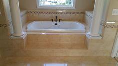Master Bathroom - 12x24 tile on the floor, jacuzzi face, deck & backsplash with a mosaic deco liner. #traditionalbathroom