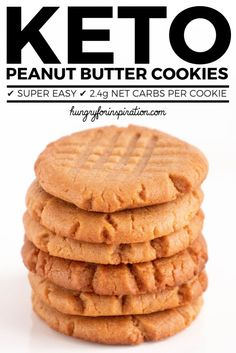 The Easiest Keto Peanut Butter Cookies Ever! Only 3 ingredients needed for these super easy Keto Cookies - done in 20 minutes! suitable for the ketogenic diet or low carb diet with only net carbs per cookie. Keto Cookies, Keto Peanut Butter Cookies, Low Carb Peanut Butter, Keto Desserts, Keto Dessert Easy, Keto Snacks, Dessert Recipes, Keto Brownies, Low Carb Keto