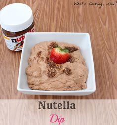 Nutella Dip, a great dip made with nutella and is great served with strawberries, other fruit, or graham crackers. #dip #nutella