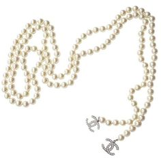 Chanel Authentic Chanel Classic CC Pearl Lariat Necklace ($1,599) ❤ liked on Polyvore featuring jewelry, necklaces, lariat necklace, chanel necklace, necklaces & pendants, cross necklace and white pearl necklace