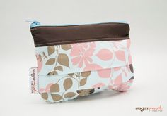 Blue & Brown Pleated Make Up Bag