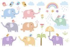 Elephants: seamless patterns&clipart - Patterns - 6