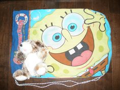 Sponge Bob front. Bags for foster kids made from pillowcases and stuffed with a furry friend.