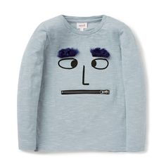 100% Cotton Tee. Long sleeve t-shirt in all over mini yarn dyed stripe. Features novelty face placement print on front panel, with applique fuzzy eyebrows and functional zip mouth pocket. Regular fitting silhouette. Available in Glacier Green.