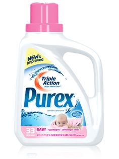 Purex Triple Action liquid detergent - Baby:   Gentle on baby's skin. Tough on baby's messes.