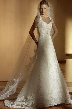 Attractive Empire V-Neck Short-Sleeve Floor-length Chapel Appliques Wedding Dresses (3AD0115)