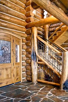 Rocky Mountain Log Homes - 0040 character post & stairway