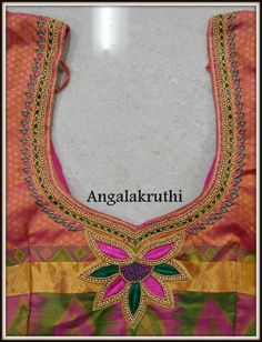 Angalakruthi-Blouse neck embroidery designs