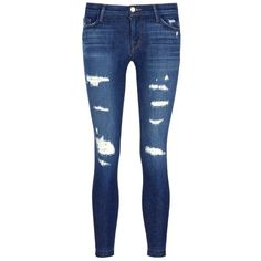 J Brand 'Cropped Skinny' distressed jeans (233000 IQD) ❤ liked on Polyvore featuring jeans, pants, bottoms, blue, cropped jeans, skinny jeans, j brand jeans, denim skinny jeans and skinny fit jeans