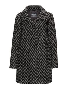 White Label Rofa Fashion Patterned wool blend coat in Camel / Black