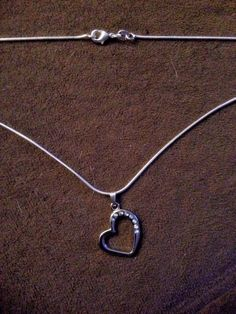 """Silver Heart w/ clear Gemstones Pendant & 22"""" Snake Necklace Valentines  #Unbranded #Pendant"""