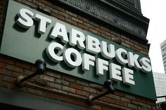 Starbucks Coffee Signage.  Again with the individually mounted letters and cast shadows.