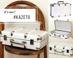 White riveted suitcase by Suitcase, Box, Snare Drum, Briefcase