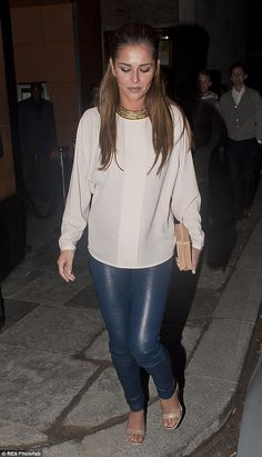 #Partyoutfit | Cheryl Cole in a white blouse, blue leather pants, strap heels and statement necklace