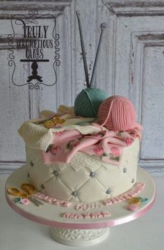 Beautiful cake by Truly Scrumptious Cakes Grandma Cake, Mom Cake, Pretty Cakes, Beautiful Cakes, Amazing Cakes, Knitting Cake, Sewing Cake, Crochet Cake, Cake Works