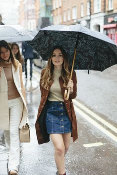 What Olivia Did, paisley umbrella, denim skirt, long coat, autumn, spring, style, fashion blogger