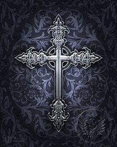 Sacred Symbols - Pagan Art, Goddess Art, Christian Art, New Age Art & Wiccan Art by Brigid Ashwood Cross Love, Sign Of The Cross, Cross Tattoo Designs, Cross Designs, Cross Tattoos, Gothic Crosses, Gothic Art, Tatoo Books, Cross Wallpaper