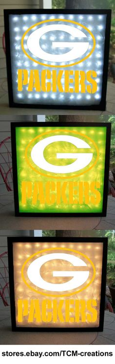 NFL National Football League Green Bay Packers shadow boxes with LED lighting & multiple colored vinyl decals
