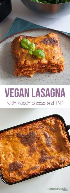Vegan Lasagna with Nooch Cheese   ElephantasticVegan.com