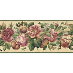 "allen   roth�9-1/4"" Floral And Fruit Trail Prepasted Wallpaper Border"
