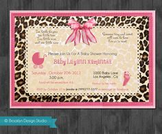 Pink And Leopard Print Baby Shower Invitation Design Cheetah Showers Gender Reveal