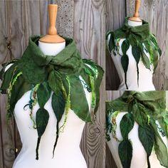 Woodland collar-leaf necklace-green scarf-Felted Cowl  felted