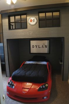 Garage Loft Bed, Wooden bed with side steps and 3 drawer storage.  Loft area above bed is large enough for another twin mattress., Garage loft with Corvette bed, Boys Rooms Design
