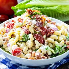 BLT Pasta Salad is a picnic favorite. Creamy Pasta Salads, Blt Pasta Salads, Summer Pasta Salad, Pasta Salad Recipes, Noodle Salads, Spicy Recipes, Cooking Recipes, Drink Recipes, How To Cook Pasta