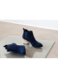 Young+British+Designers:+FLOAT+ANKLE+BOOT,+SAPPHIRE+by+Dear+Frances+-+Dear+Frances+best+selling+style+in+new+season+deepest+sapphire+blue.+Sleek+and+distinctive+ankle+boots+to+wear+through+day+and+into+night.