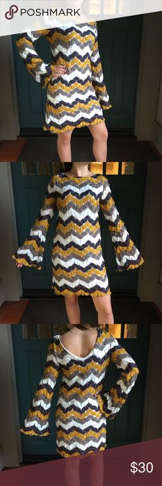 Judith March Chevron Bell Sleeve Dress Retro Vibes Judith March Chevron Retro-Inspired Design with Bell Sleeves Size Large.  Colors: mustard, white, gray, brown.  Good condition! Judith March Dresses