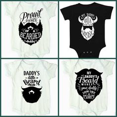 Under $12 each!!!!! $45 for 4 Bearded Daddy Onesies!! Proud Owner of a Bearded Daddy Onesie, Daddy's Little Bear Puller, My Daddy's Beard Makes Your Daddy Look like a Girl, My Daddy is a Viking, Fathers Day Gift Ideas, Can be made with Uncle, Grandpa, or other name also. CUSTOM Onesie, Custom Baby Bodysuit, Trendy Baby Onesie, Hipster Onesie, Unique Baby Shower Gift, Great Baby Shower Gifts, Bearded Daddy Shirts, Beard Mens Shirts, Handmade Mommy Designs