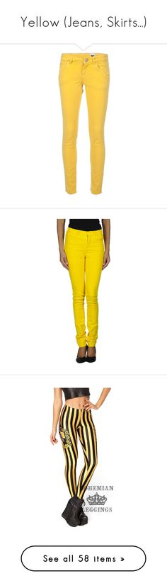 """Yellow (Jeans, Skirts...)"" by carlou863 ❤ liked on Polyvore featuring jeans, pants, bottoms, colored denim, 5 pocket skinny jeans, denim skinny jeans, patched jeans, skinny fit denim jeans, 5 pocket jeans and yellow"