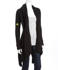 Iowa Hawkeyes Black Open Cardigan by Meesh & Mia on #zulily today! Nice way to be sporty and classy/girly all at once!