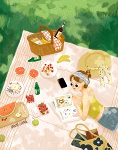 Illustration Mignonne, Cute Illustration, Painting Inspiration, Art Inspo, Art Mignon, Cactus Drawing, Food Graphic Design, Pinturas Disney, Lovely Girl Image