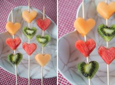 heart-shaped pieces of fruit