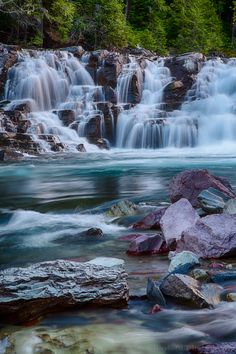 McDonald Creek Cascade...  After the sunset in the middle of summer in Glacier National Park... by Dave Gaylord on 500px.