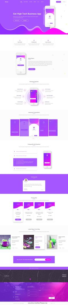 Movo is clean and modern design #PSD template for creative #app landing page #website with 7 layered PSD pages to live preview & download click on Visit