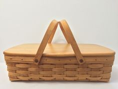 LONGABERGER 1995 Handled Basket Solid Maple Lid Copper Rivets Rectangular EUC #Longaberger