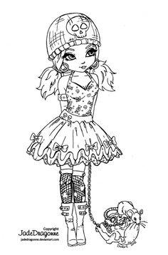 Gothic Lolita -Lineart by JadeDragonne on @DeviantArt