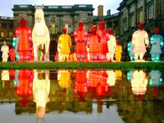 For the first time, larger than life lanterns inspired by the Terracotta Warriors, created by artist Xia Nan for the Beijing Olympics are lit up at Edinburgh University in Scotland, January 2014.