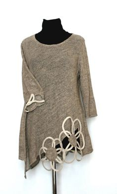 Linen Viscose Natural Knitted Ladies Flower Linen Lady Tunic Top  Knitted  in Old gold Linen Yarn