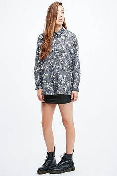 Pins & Needles Relaxed Oversized Shirt in Black