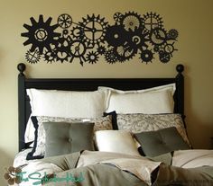 Blades Gears Clock Parts Steam Punk Style Vinyl Wall Stickers Decals Graphics 919