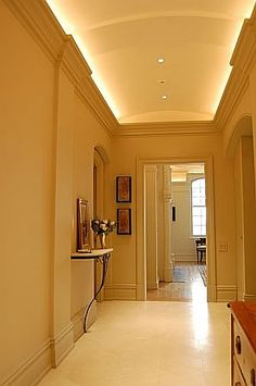 Hallway lighting-cove and recessed cans. Lumilum Warm White Strip Lights