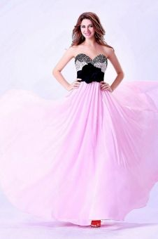 A-line Sweetheart Chiffon Floor-length Pink Flowers Bridesmaid Dress  at www.ladyplussizedresses.com
