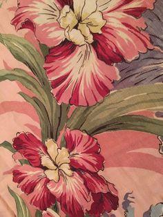 Vtg 40's Barkcloth Textured Curtain Fabric Pink Tropical Flowers 19x120